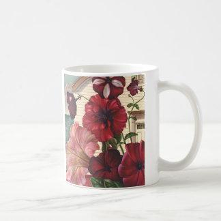 Vintage Flowers, Morning Glories in the Garden Basic White Mug