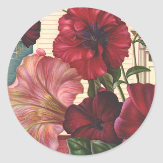 Vintage Flowers, Morning Glories in the Garden Classic Round Sticker
