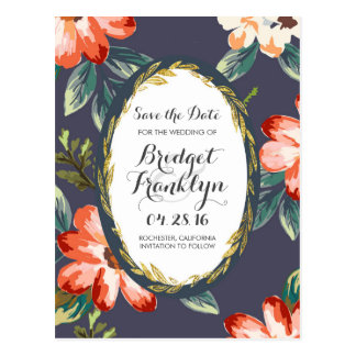 vintage flowers navy and gold save the date postcard