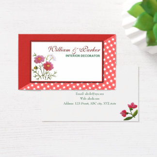 Vintage Flowers on Gingham Business Card