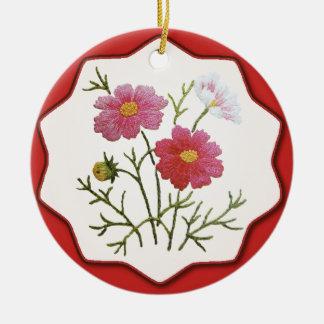 Vintage Flowers on Gingham Ceramic Ornament