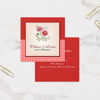 Vintage Flowers on Gingham Square Business Card