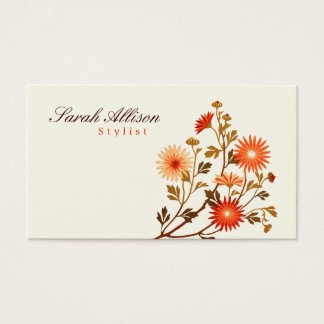 Vintage Flowers Orange, Red Pale Yellow Background Business Card
