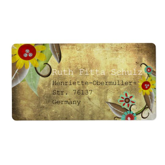Vintage Flowers Pattern Personalise Shipping Label