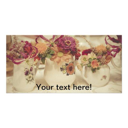vintage flowers photo card