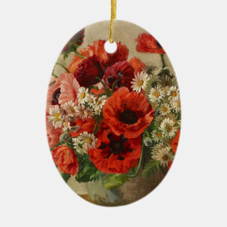 Vintage flowers, poppies ceramic oval decoration