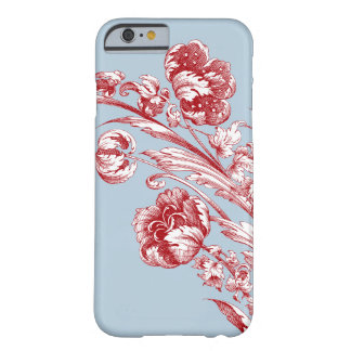 Vintage Flowers, Red, White and Blue Barely There iPhone 6 Case
