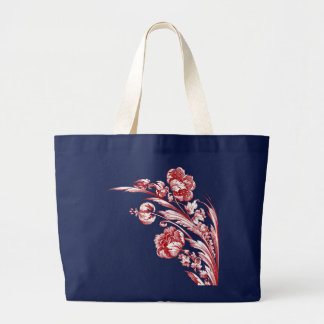 Vintage Flowers, Red, White and Blue Jumbo Tote Bag