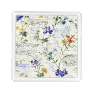 Vintage Flowers Small Square Tray