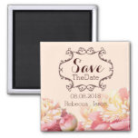 vintage flowers spring wedding save the date square magnet