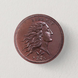 Vintage Flowing Hair Large Cent 3 Cm Round Badge