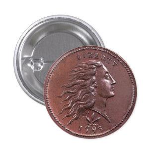 Vintage Flowing Hair Large Cent 3 Cm Round Badge