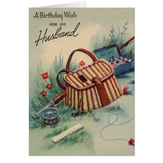 Vintage fly fishing husband birthday card for Fishing birthday cards
