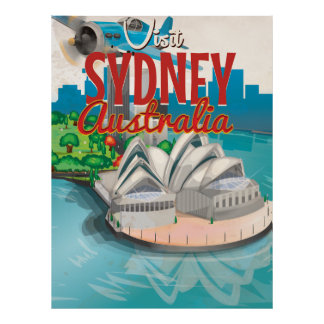 Vintage Fly to Sydney,Australia Travel Poster