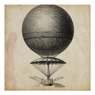 Vintage Flying Machine Illustration Poster