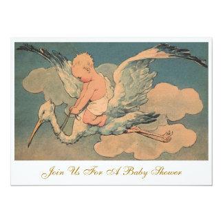 Vintage Flying Stork and Infant Gender Baby Shower 14 Cm X 19 Cm Invitation Card