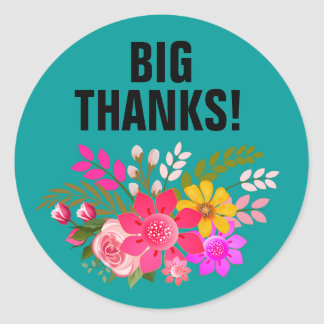 Vintage Folklore Floral Thank You | teal white Classic Round Sticker