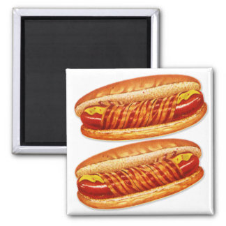 Vintage Food Bacon Wrapped Hot Dogs Magnet