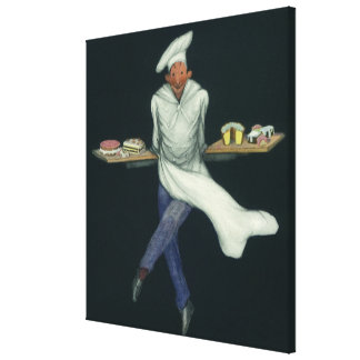 Vintage Food Baker with Pastries and Desserts Stretched Canvas Prints