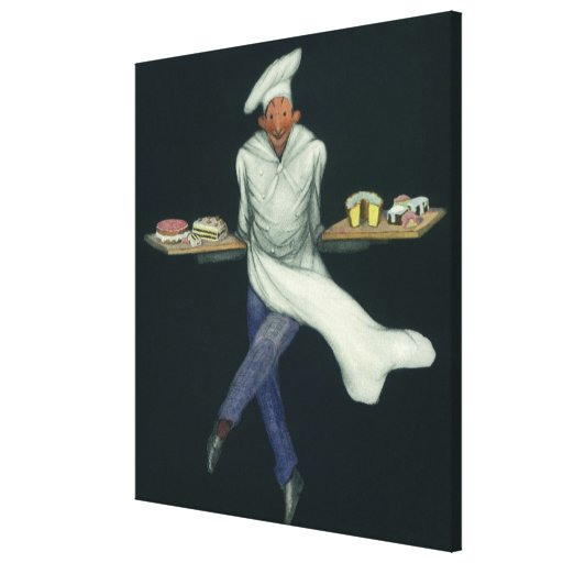 Vintage Food, Baker with Pastries and Desserts Stretched Canvas Prints