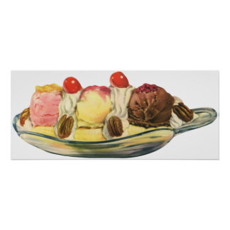 Vintage Food Desserts, Banana Split Cherries Poster