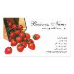 Vintage Food Fruit Berries, Strawberries in Basket Business Card
