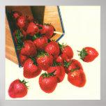 Vintage Food Fruit Berries, Strawberries in Basket Print