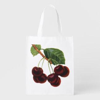 Vintage Food Fruit, Cherries on a Branch Reusable Grocery Bag