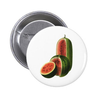 Vintage Food Fruit Organic Watermelons, Tall Round Button