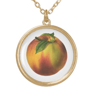 Vintage Food Fruit, Ripe Organic Peach with Leaf Gold Plated Necklace