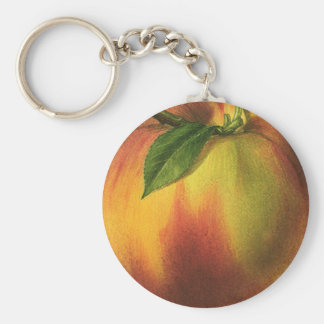 Vintage Food Fruit, Ripe Organic Peach with Leaf Key Ring