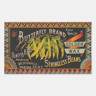 Vintage Food Green Bean Vegetable Advertising Rectangular Sticker