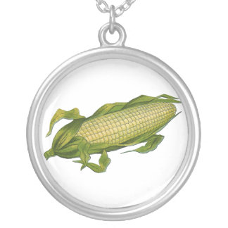 Vintage Food, Healthy Vegetables, Corn on the Cob Round Pendant Necklace
