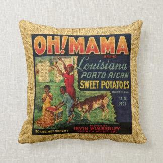 Vintage Food label Oh Mama and Banjo brand Cushion