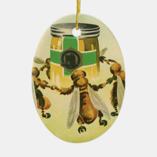 Vintage Food, Organic Honey Bees Dancing Jar Christmas Ornament