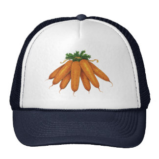 Vintage Food, Vegetables; Bunch of Organic Carrots Hats