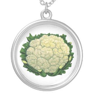 Vintage Food Vegetables Veggies Cauliflower Round Pendant Necklace