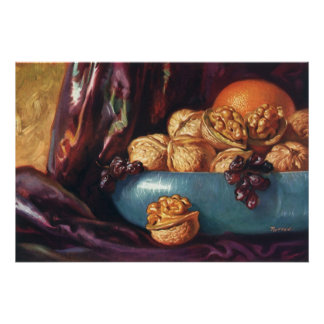 Vintage Food, Walnuts and Fruit in a Blue Bowl Print