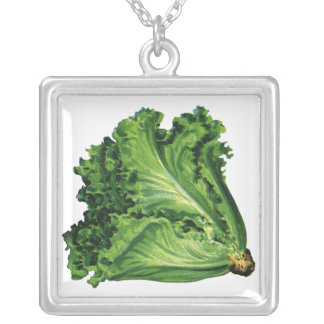 Vintage Foods, Vegetables, Green Leaf Lettuce Square Pendant Necklace