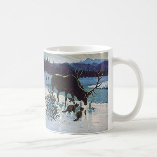 Vintage Forest Creatures and Elk in Winter Snow Coffee Mug