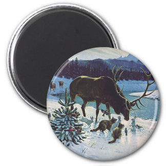 Vintage Forest Creatures and Elk in Winter Snow Magnet