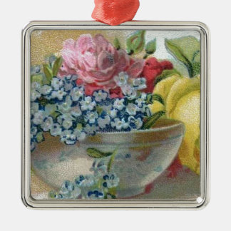 Vintage Forget Me Not Roses Square Ornament