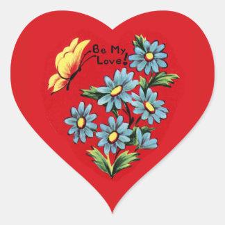 Vintage Forget-Me-Not Valentine Matching Heart Sticker