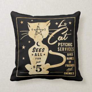 Vintage Fortune Telling Design - Le Cat Cushion
