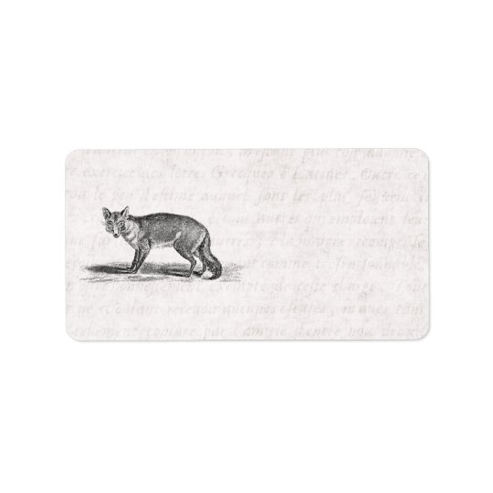 Vintage Foxy Fox Illustration - 1800's Foxes Address Label