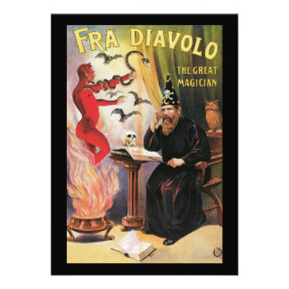 Vintage Fra Diavolo The Great Magician Poster Invitations