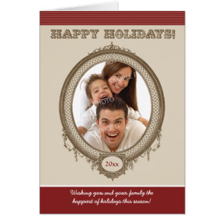 Vintage Frame Custom Holiday Card (red)