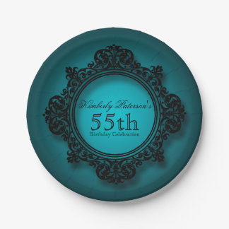 Vintage Frame in Blue - 55th Birthday Paper Plates 7 Inch Paper Plate