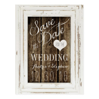 Vintage Frame Rustic Wood Typography Save the Date Postcard