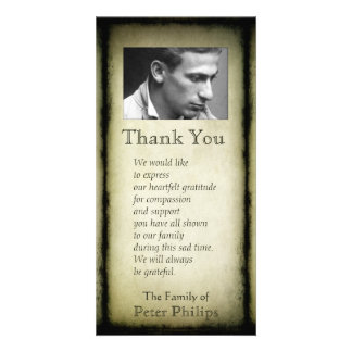 Vintage Frame Sympathy Thank You Photo V Card Personalised Photo Card